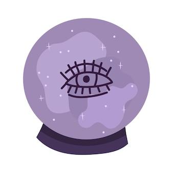 Bola de cristal púrpura con ojo. elemento de diseño mágico de brujería. ilustración de dibujado a mano de vector.