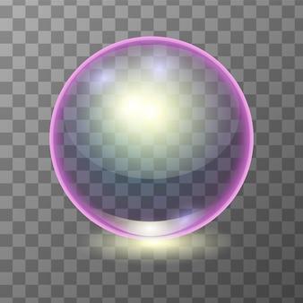 Bola de cristal transparente multicolor realista, esfera de brillo o burbuja.