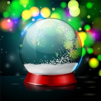 Bola de cristal transparente realista vector con copos de nieve sobre fondo brillante noche de año nuevo.