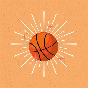 Bola deporte baloncesto sunburst color fondo