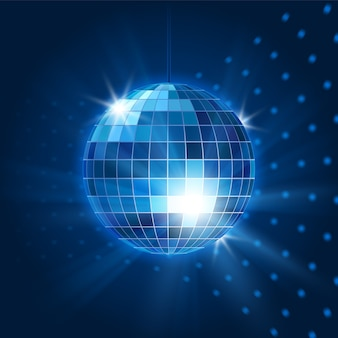 Bola de discoteca de espejo de vector. objeto de discoteca, vida nocturna y brillante y fiesta. ilustración vectorial