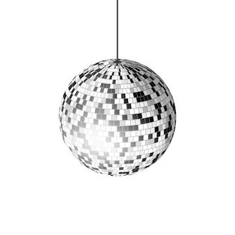 Bola de discoteca con rayos de luz sobre fondo blanco, ilustración.