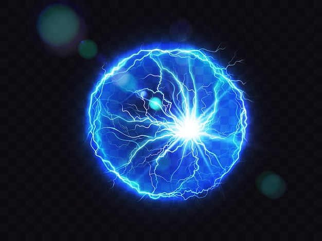 Bola eléctrica rayo círculo golpear lugar de impacto