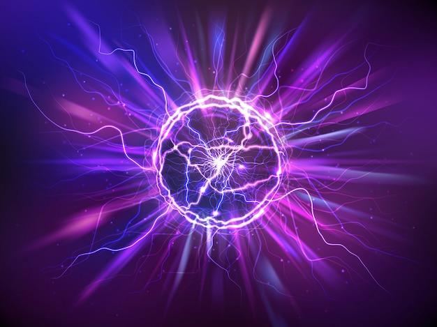Bola eléctrica realista o esfera de plasma abstracta