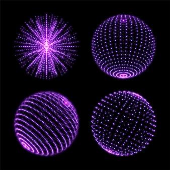 Bola esfera ligera con conexión de puntos. globos de luz de neón con destellos ultravioletas en espiral y rayos o partículas de energía.