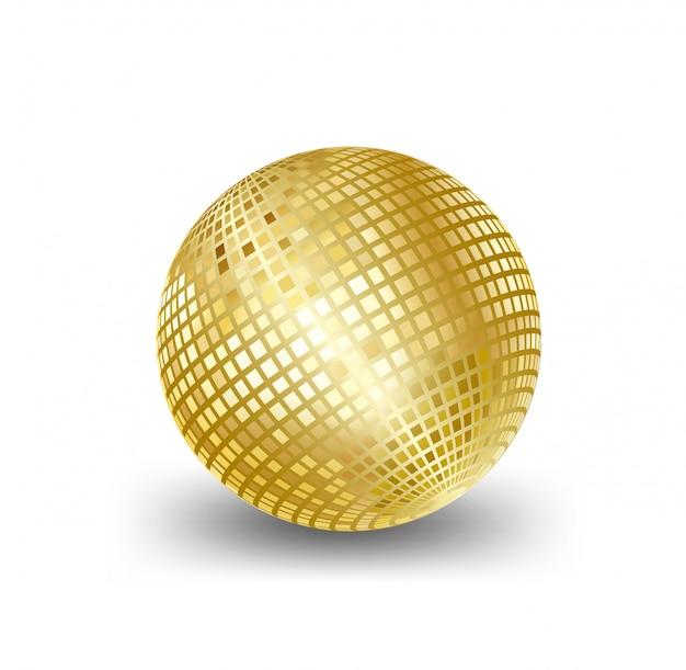 Bola de espejo de oro, elementos para tarjetas de fondo de vacaciones de caja de regalo de felicitación de ilustraciones