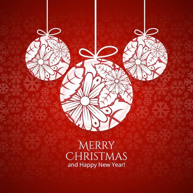 Bola de la feliz navidad con el fondo colorido de la tarjeta