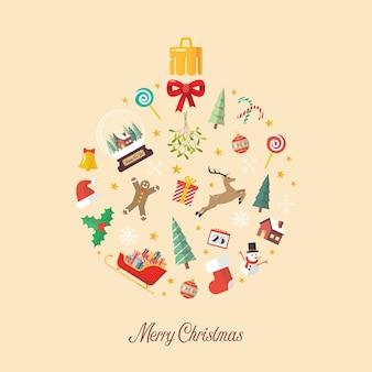 Bola de feliz navidad hecha de elementos decorativos.