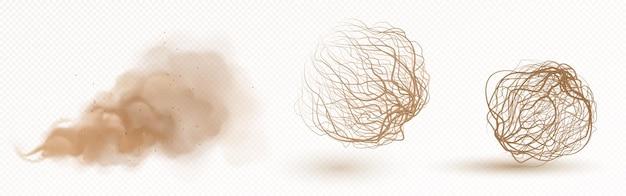 Bola de hierba seca de tumbleweed y nubes de polvo marrón aisladas en transparente