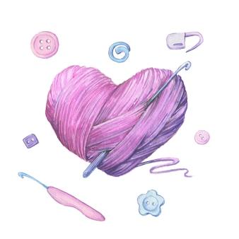 Bola de hilo de acuarela para tejer en forma de corazón. ilustración vectorial