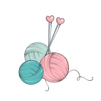 Bola de hilo y agujas en estilo doodle aislado sobre fondo blanco.
