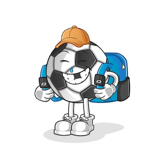 Bola va a la ilustración de la escuela