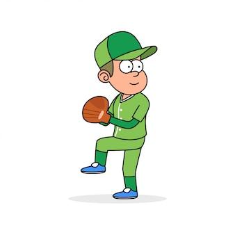 Bola de lanzamiento de jugador de béisbol