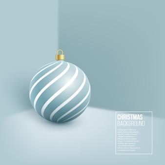 Bola de navidad azul. estilo realista en el fondo de la pared
