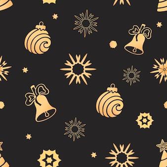 Bola de navidad, campana, copo de nieve de patrones sin fisuras. fondo de vacaciones, papel de regalo.