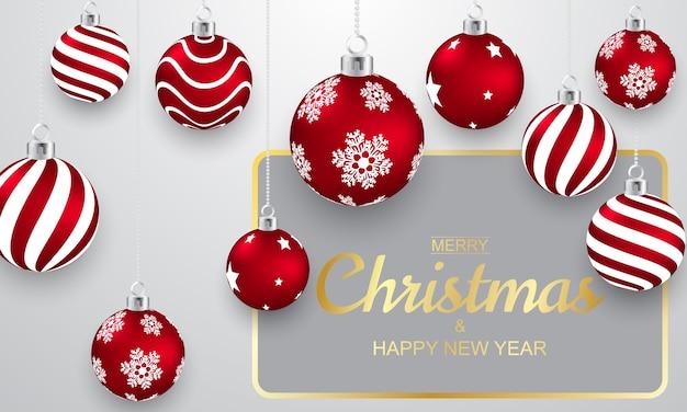 Bola de navidad diseño 3d rojo y dorado