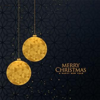 Bola de navidad dorada con diseño de saludo creativo.