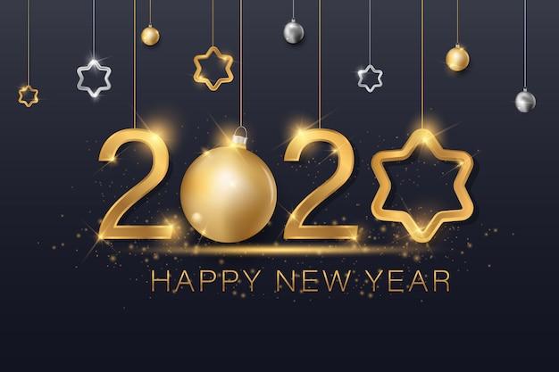Bola de navidad estrella copo de nieve confeti dorado y negro colores encaje para texto 2020