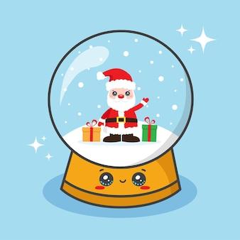 Bola de navidad con globo de nieve con santa claus y regalos