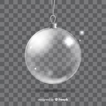 Bola de navidad transparente con estilo elegante