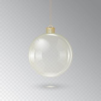 Bola navideña de cristal con cordón dorado sobre fondo transparente. ilustración