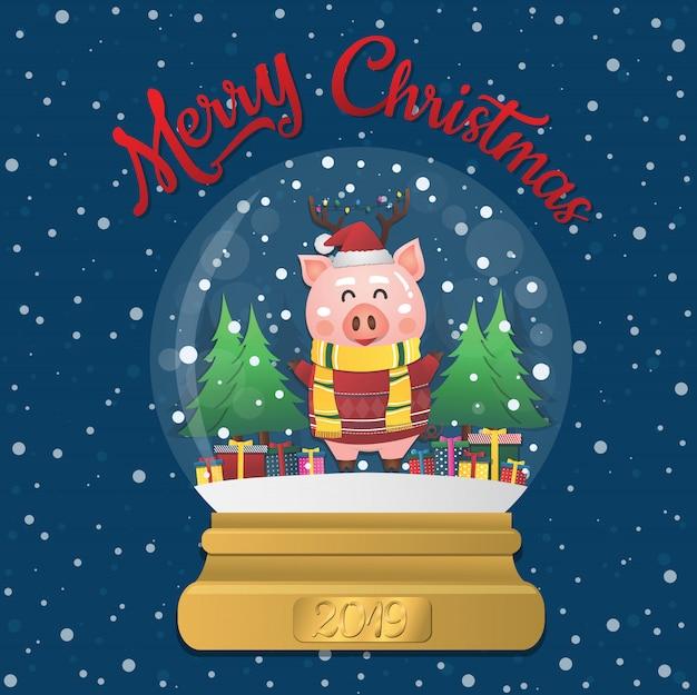Bola de nieve de navidad 2019 con cerdo