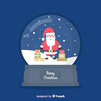 Bola de nieve de navidad globo en diseño plano