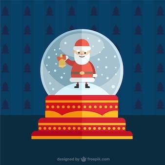 Bola de nieve navideña con un santa claus sonriendo