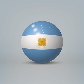 Bola o esfera de plástico brillante realista 3d con bandera de argentina
