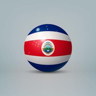 Bola o esfera de plástico brillante realista 3d con bandera de costa rica