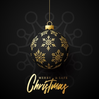 Bola de oro navideña y cartel de peligro de coronavirus de cuarentena. coronavirus covid-19 y concepto cancelado de navidad o año nuevo. ilustración vectorial