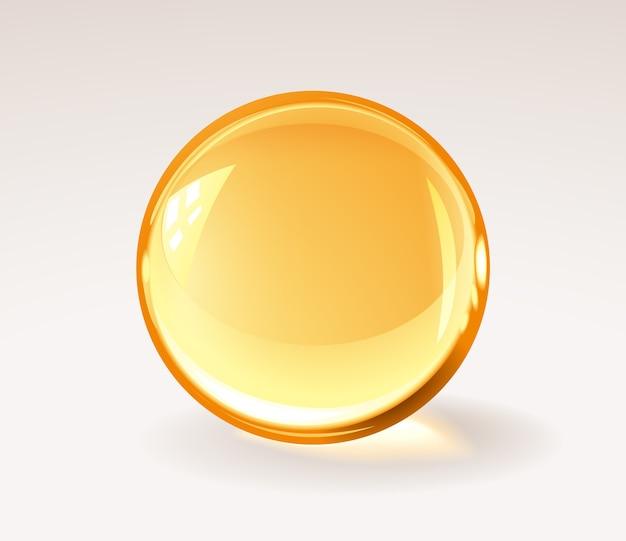Bola de resina transparente dorada: píldora médica realista o gota de miel o esfera de vidrio. rgb. colores globales