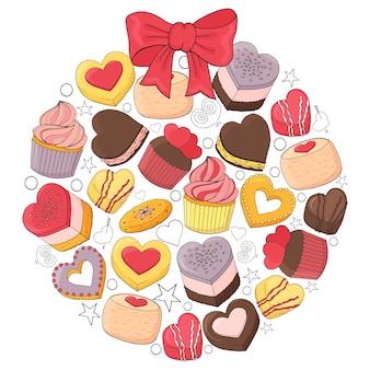 La bola romántica está hecha de diferentes postres para el día de san valentín. dibujado a mano.