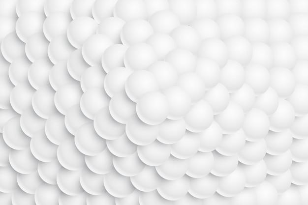 Bolas blancas esfera 3d apiladas en forma de montaña
