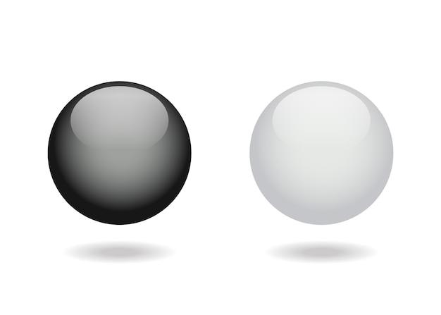Bolas brillantes en blanco y negro.