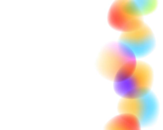 Bolas brillantes borrosas con fondo blanco.