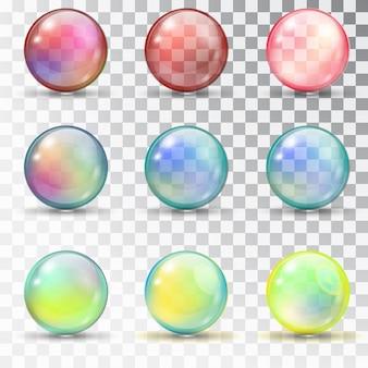 Bolas de colores transparentes con rebosadero.