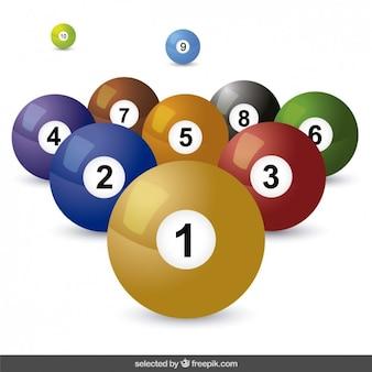 Bolas coloridas de billar