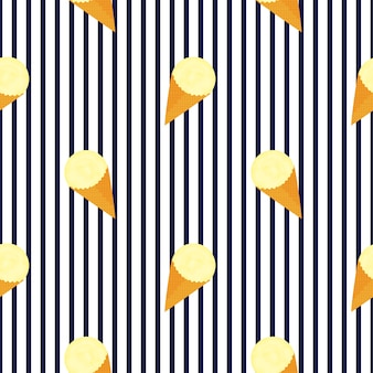 Bolas de helado de frutas en un patrón sin fisuras de cono de galleta.