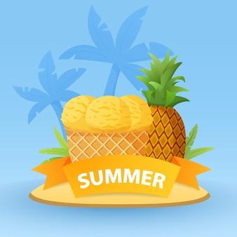 Bolas de helado de piña de frutas tropicales. concepto de verano con isla tropical y palmeras.