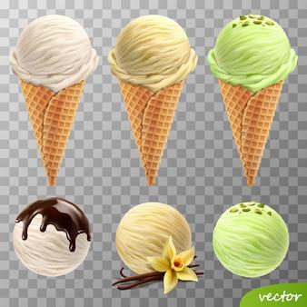Bolas de helado realistas en 3d en conos de waffle (chocolate derretido, flor de vainilla y palitos, pistachos)