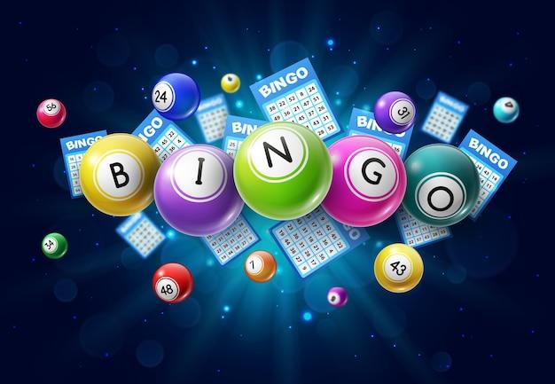 Bolas de juego de lotería de bingo y cartones de lotería con números de la suerte