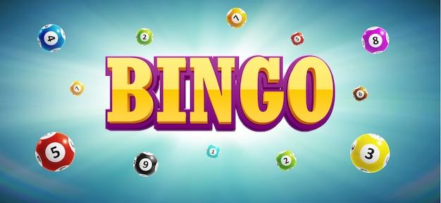 Bolas de lotería de bingo y lugar para el texto