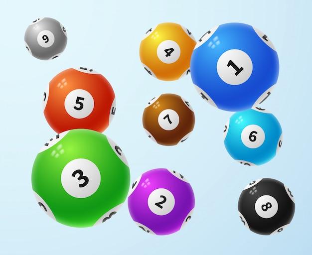 Bolas de lotería, concepto de vector de juego de lotería de deportes
