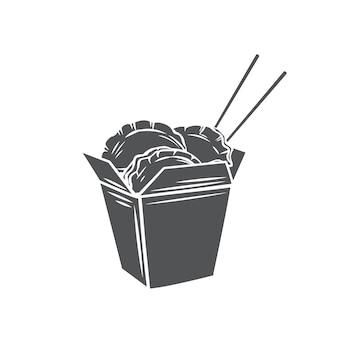 Bolas de masa hervida en caja de cartón chino con icono monocromo de glifo de palillos