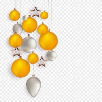 Bolas de navidad 3d para el diseño de vacaciones de año nuevo sobre fondo transparente.