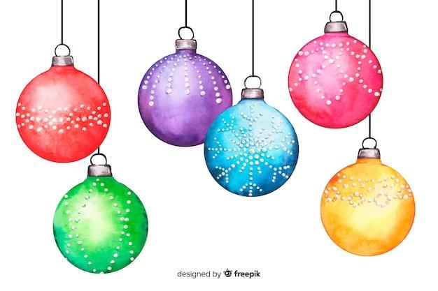 Bolas de navidad acuarela sobre fondo blanco.