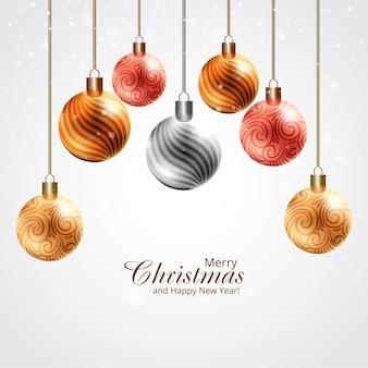 Bolas de navidad brillantes realistas modernas sobre fondo de tarjeta