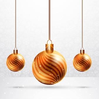 Bolas de navidad brillantes realistas sobre fondo de tarjeta de celebración