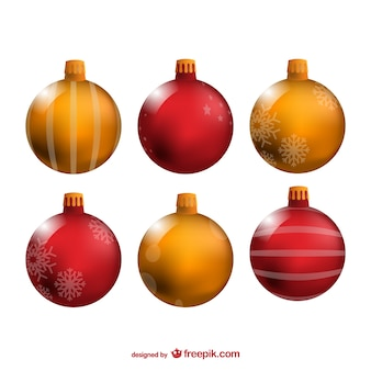 Bolas de navidad de color rojo y amarillo